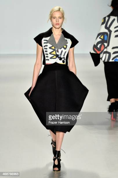 A model walks the runway at the CHOIBOKO fashion show during MercedesBenz Fashion Week Fall 2014 at Lincoln Center on February 11 2014 in New York...