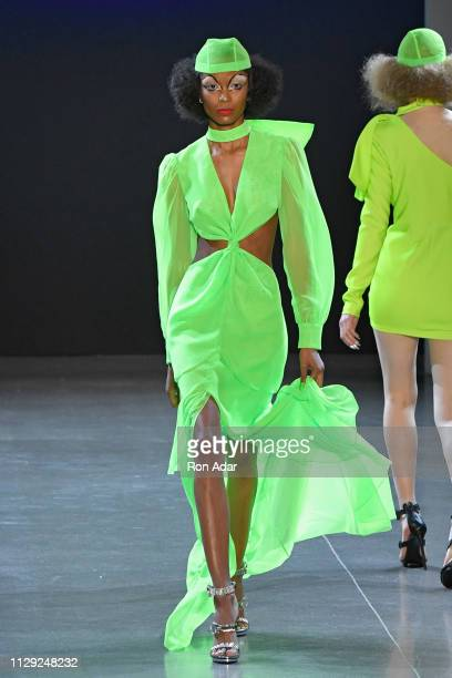 Model walks the runway at the Christian Cowan show during New York Fashion Week Fall Winter 2019 at Gallery II at Spring Studios on February 12, 2019...
