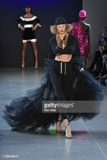 A model walks the runway at the Christian Cowan show during New York Fashion Week Fall Winter 2019 at Gallery II at Spring Studios on February 12...