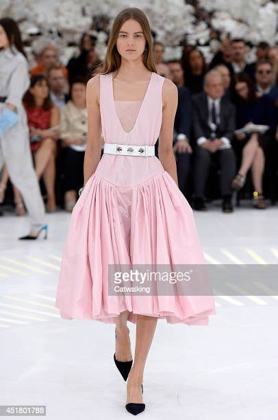 Model walks the runway at the Christian Dior Autumn Winter 2014 fashion show during Paris Haute Couture Fashion Week on July 7, 2014 in Paris, France.