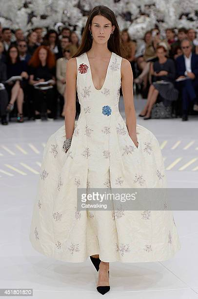 A model walks the runway at the Christian Dior Autumn Winter 2014 fashion show during Paris Haute Couture Fashion Week on July 7 2014 in Paris France