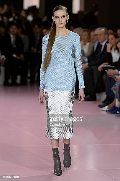 A model walks the runway at the Christian Dior Autumn Winter 2015 fashion show during Paris Fashion Week on March 6 2015 in Paris France