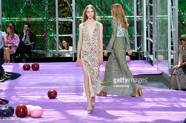 A model walks the runway at the Christian Dior Autumn Winter 2015 fashion show during Paris Haute Couture Fashion Week on July 6 2015 in Paris France