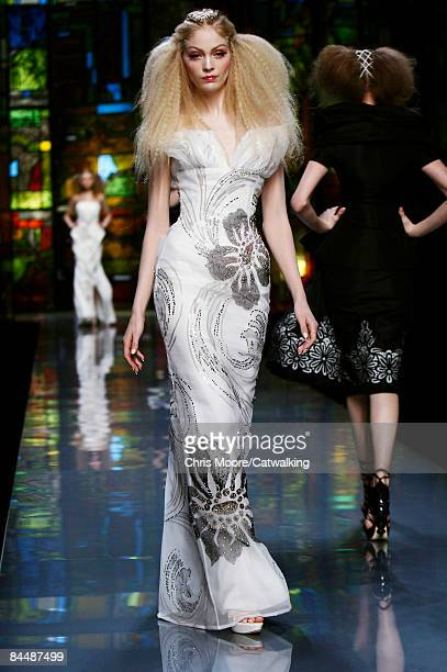 A model walks the runway at the Christian Dior fashion show during Paris Fashion Week Haute Couture Spring/Summer 2009 on January 26 2009 in Paris...