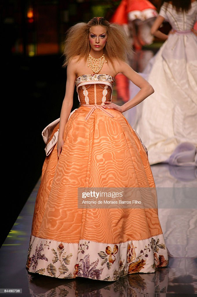 A model walks the runway at the Christian Dior fashion show during Paris Fashion Week Haute Couture Spring/Summer 2009 at Musee Rodin on January 26, 2009 in Paris, France.