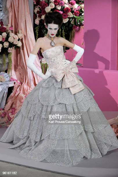 A model walks the runway at the Christian Dior fashion show during Paris Haute Couture Fashion Week Spring/Summer 2010 on January 25 2010 in Paris...