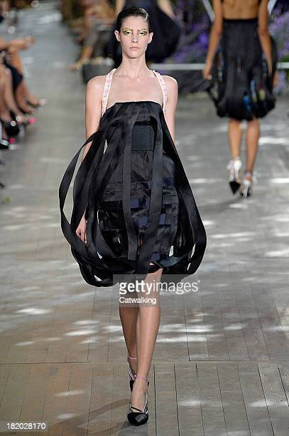 Model walks the runway at the Christian Dior Spring Summer 2014 fashion show during Paris Fashion Week on September 27, 2013 in Paris, France.