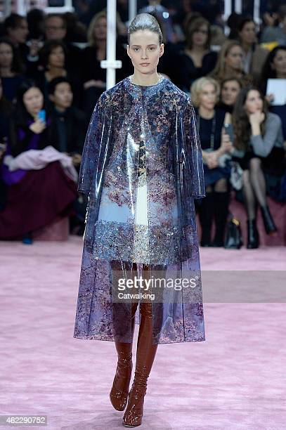 Model walks the runway at the Christian Dior Spring Summer 2015 fashion show during Paris Haute Couture Fashion Week on January 26, 2015 in Paris,...