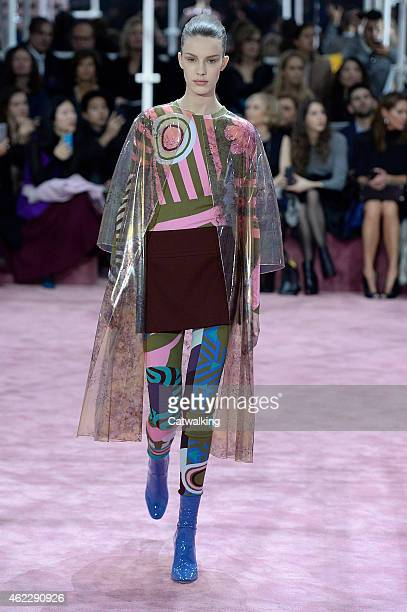 A model walks the runway at the Christian Dior Spring Summer 2015 fashion show during Paris Haute Couture Fashion Week on January 26 2015 in Paris...