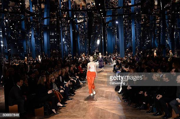 A model walks the runway at the Christian Dior Spring Summer 2016 fashion show during Paris Haute Couture Fashion Week on January 25 2016 in Paris...