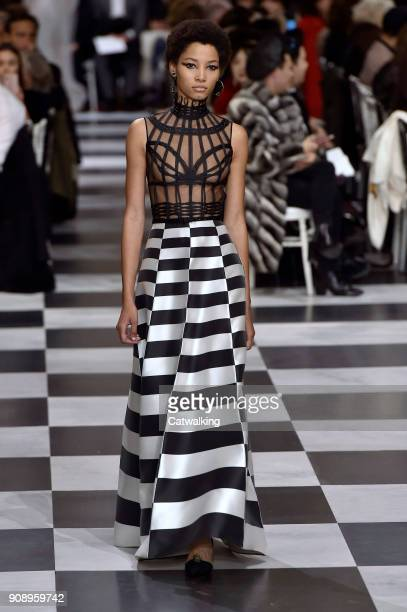 A model walks the runway at the Christian Dior Spring Summer 2018 fashion show during Paris Haute Couture Fashion Week on January 22 2018 in Paris...