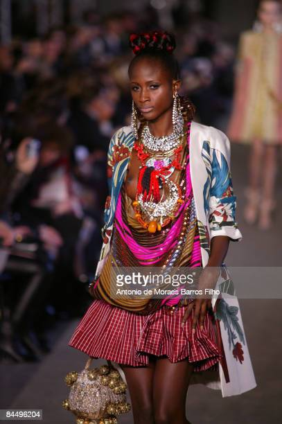 A model walks the runway at the Christian Lacroix fashion show during Paris Fashion Week Haute Couture Spring/Summer 2009 at Centre Georges Pompidou...