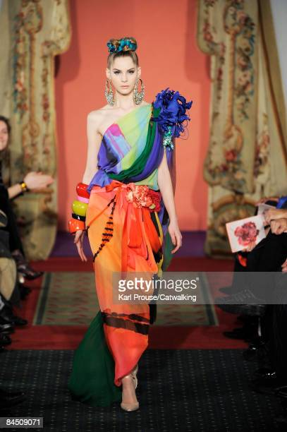 A model walks the runway at the Christian Lacroix fashion show during Paris Fashion Week Haute Couture Spring/Summer 2009 on January 27 2009 in Paris...