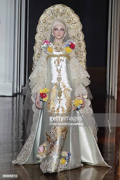 A model walks the runway at the Christian Lacroix fashion show during Paris Fashion Week Haute Couture Autumn/Winter 2009/2010 on July 7 2009 in...