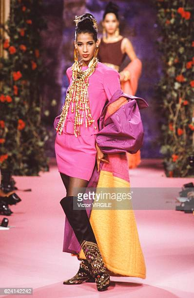 A model walks the runway at the Christian Lacroix Haute Couture Fall/Winter 19901991 fashion show during the Paris Fashion Week in July 1990 in Paris...