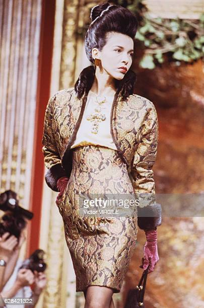 A model walks the runway at the Christian Lacroix Haute Couture Fall/Winter 19881989 fashion show during the Paris Fashion Week in July 1988 in Paris...