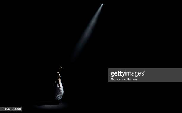 A model walks the runway at the Christian Simmon fashion show during the Mercedes Benz Fashion Week Spring/Summer 2020 on July 04 2019 in Madrid Spain