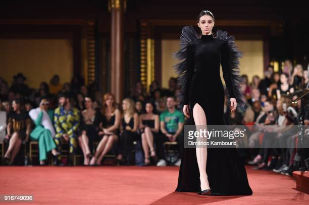 A model walks the runway at the Christian Siriano fashion show during New York Fashion Week at Grand Lodge on February 10 2018 in New York City