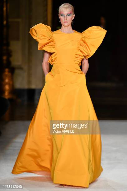 Model walks the runway at the Christian Siriano Ready to Wear Spring/Summer 2020 fashion show during New York Fashion Week on September 07, 2019 in...