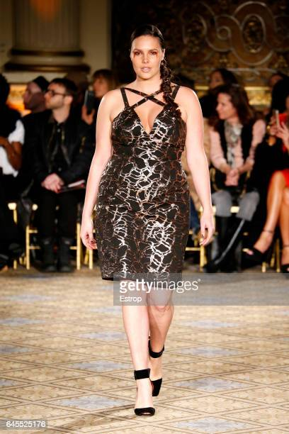 A model walks the runway at the Christian Siriano show during the New York Fashion Week February 2017 collections on February 11 2017 in New York City