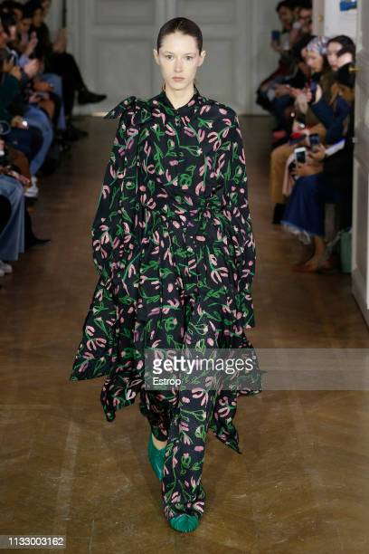 Model walks the runway at the Christian Wijnants show at Paris Fashion Week Autumn/Winter 2019/20 on March 1, 2019 in Paris, France.
