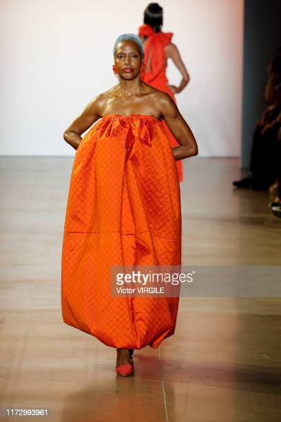A model walks the runway at the Christopher John Rogers Ready to Wear Spring/Summer 2020 fashion show during New York Fashion Week on September 07...