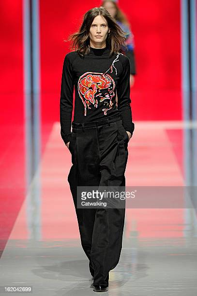 A model walks the runway at the Christopher Kane Autumn Winter 2013 fashion show during London Fashion Week on February 18 2013 in London United...