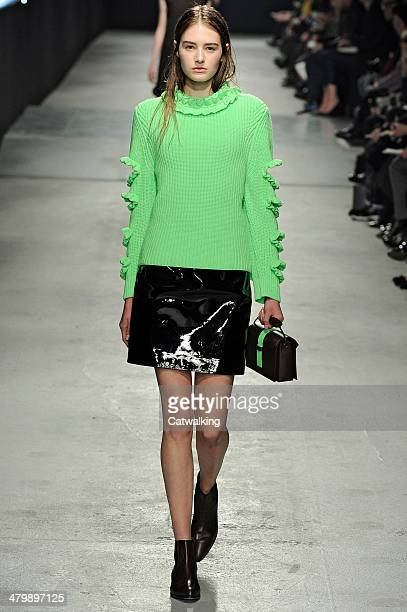 Model walks the runway at the Christopher Kane Autumn Winter 2014 fashion show during London Fashion Week on February 17, 2014 in London, United...