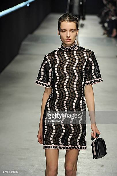 A model walks the runway at the Christopher Kane Autumn Winter 2014 fashion show during London Fashion Week on February 17 2014 in London United...
