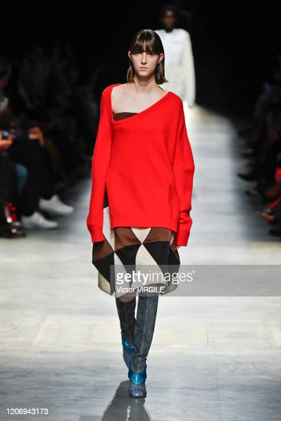 Model walks the runway at the Christopher Kane Ready to Wear Fall/Winter 2020-2021 fashion show during London Fashion Week on February 17, 2020 in...