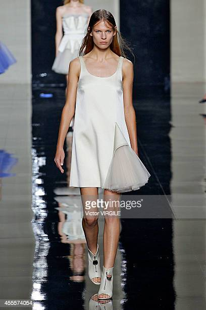 A model walks the runway at the Christopher Kane Ready to Wear show during London Fashion Week Spring Summer 2015 on September 15 2014 in London...