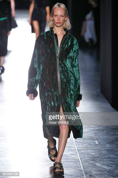 A model walks the runway at the Christopher Kane Ready to Wear Fall/Winter 20182019 fashion show during London Fashion Week February 2018 on February...