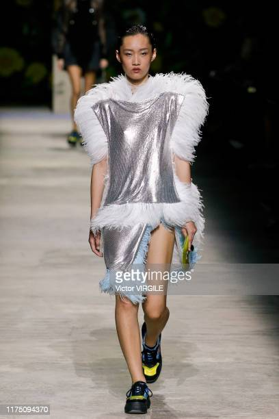 A model walks the runway at the Christopher Kane Ready to Wear Spring Summer 2020 fashion show during London Fashion Week September 2019 on September...