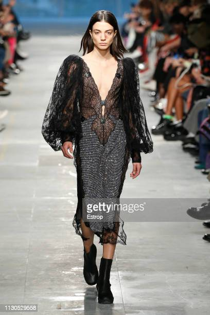 Model walks the runway at the Christopher Kane show during London Fashion Week February 2019 on February 18, 2019 in London, England.
