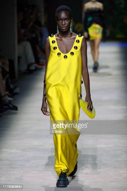 Model walks the runway at the Christopher Kane show during London Fashion Week September 2019 on September 16, 2019 in London, England.