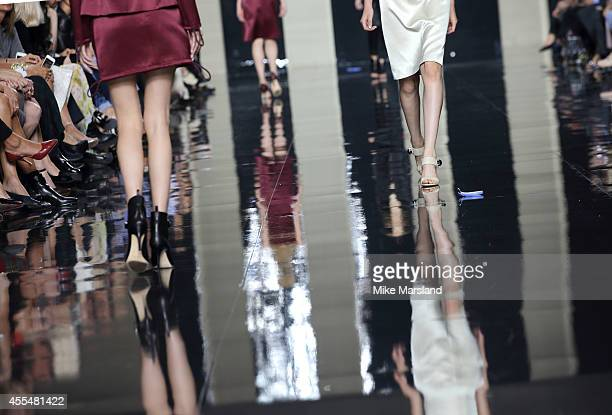A model walks the runway at the Christopher Kane show during London Fashion Week Spring Summer 2015 at on September 15 2014 in London England