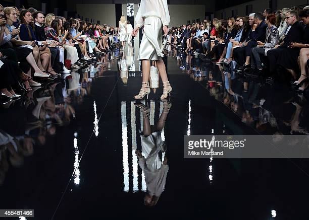 Model walks the runway at the Christopher Kane show during London Fashion Week Spring Summer 2015 at on September 15, 2014 in London, England.