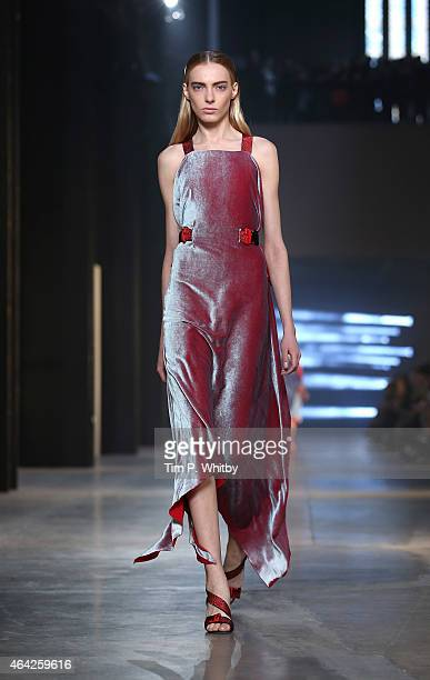 Model walks the runway at the Christopher Kane show during London Fashion Week Fall/Winter 2015/16 at Tate Modern on February 23, 2015 in London,...