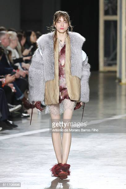 A model walks the runway at the Christopher Kane show during London Fashion Week Autumn/Winter 2016/17 at Tate Modern on February 22 2016 in London...