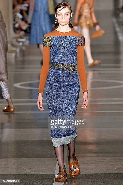 A model walks the runway at the Christopher Kane show during London Fashion Week Spring/Summer collections 2016/2017 on September 19 2016 in London...