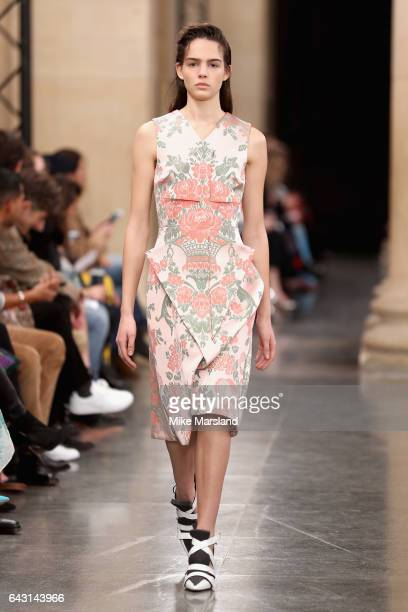 Model walks the runway at the Christopher Kane show during the London Fashion Week February 2017 collections on February 20, 2017 in London, England.
