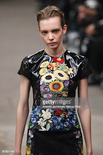 Model walks the runway at the Christopher Kane show for London Fashion Week Autumn/Winter 2010 at TopShop Venue on February 22, 2010 in London,...