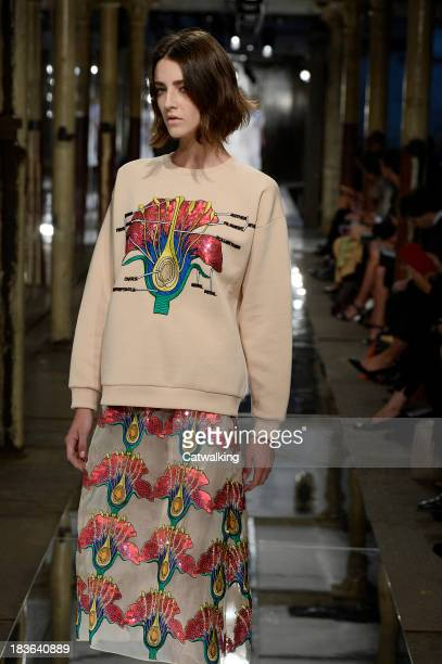 A model walks the runway at the Christopher Kane Spring Summer 2014 fashion show during London Fashion Week on September 16 2013 in London United...