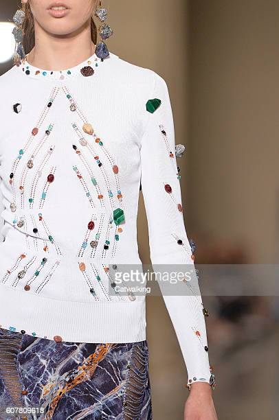 Model walks the runway at the Christopher Kane Spring Summer 2017 fashion show during London Fashion Week on September 19, 2016 in London, United...