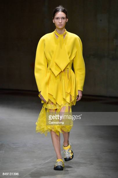 A model walks the runway at the Christopher Kane Spring Summer 2018 fashion show during London Fashion Week on September 18 2017 in London United...