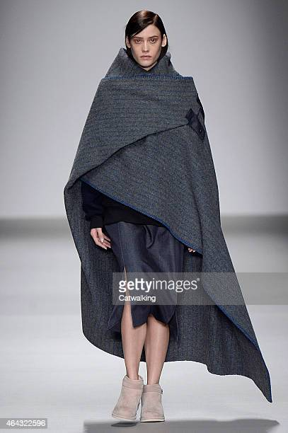 A model walks the runway at the Christopher Raeburn Autumn Winter 2015 fashion show during London Fashion Week on February 24 2015 in London United...