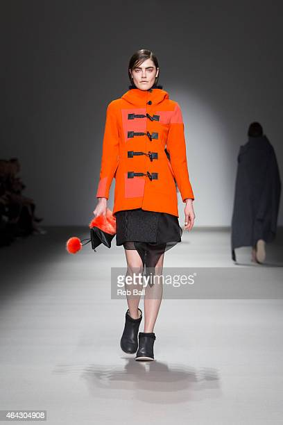 Model walks the runway at the Christopher Raeburn show during London Fashion Week Fall/Winter 2015/16 at Somerset House on February 24, 2015 in...