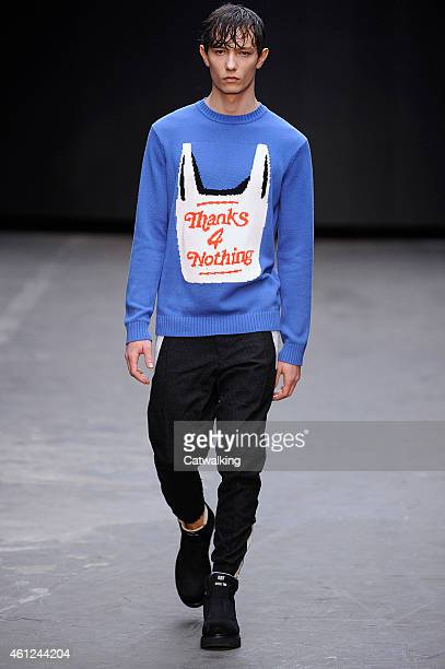 A model walks the runway at the Christopher Shannon Autumn Winter 2015 fashion show during London Menswear Fashion Week on January 9 2015 in London...