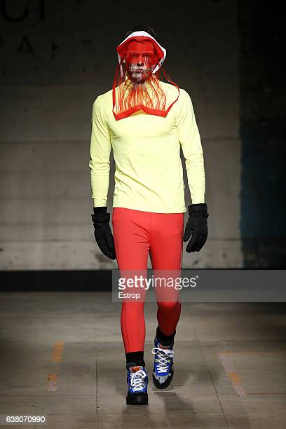 A model walks the runway at the Christopher Shannon show during London Fashion Week Men's January 2017 collections at BFC Show Space on January 7...