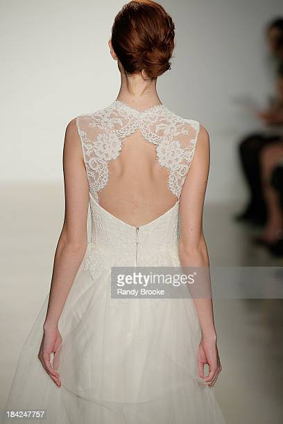 A model walks the runway at the Christos Fall 2014 Bridal collection show at EZ Studios on October 12 2013 in New York City